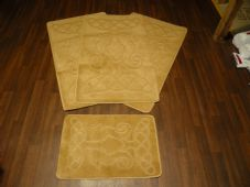 Plain Oblong Non Slip Washable Romany Traveller/Gypsy Mat Set 4Pc Seahorse Light Beige All Colours Available
